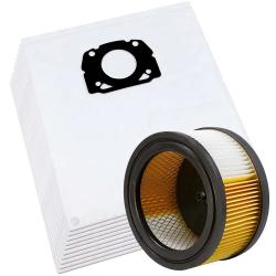 10 Vlies Beutel + 1 Filter für Kärcher WD 5.400, WD 5.600, WD 4.200 kompatibel